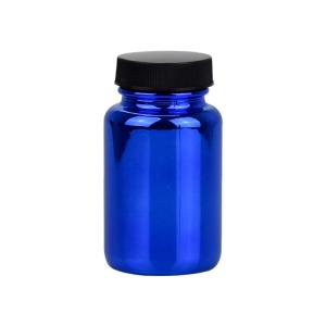 100ml electroplate blue metallic pharmaceutical glass pill bottle for tablet