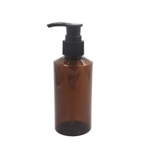 150ml slant shoulder amber plastic bottle