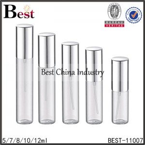 glass perfume sprayer shiny silver aluminum sprayer and cap 5/7/8/10/12ml