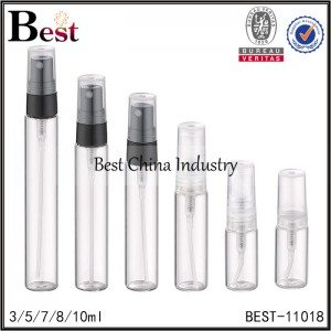 sample glass perfume bottle black or clear sprayer with clear cap 3/5/7/8/10ml