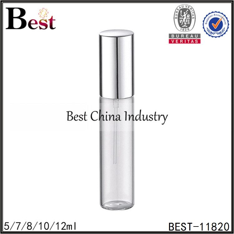 pocket size clear tube perfume tomizer with metal sprayer and cap 5/7/8/10/12ml