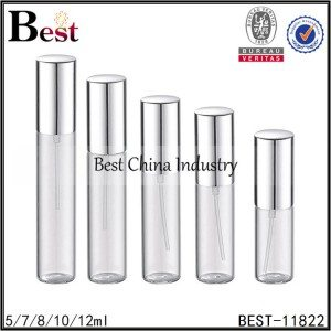 sample tube glass perfume bottle silver aluminum sprayer and cap 5/7/8/10/12ml