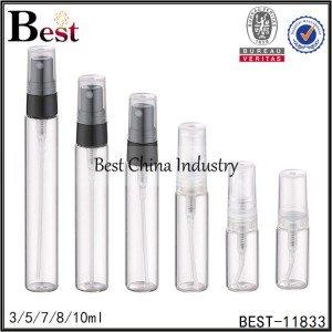 clear tube glass perfume sprayer bottle plastic sprayer 3/5/7/8/10ml