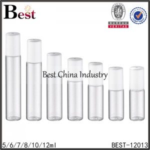 clear perfume roll on bottle with roller bottle and white plastic cap 5/6/7/8/10/12ml