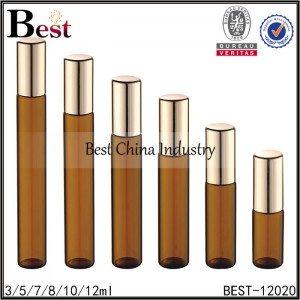 tall amber glass roller bottle metal roller and cap 3/5/7/8/10/12ml