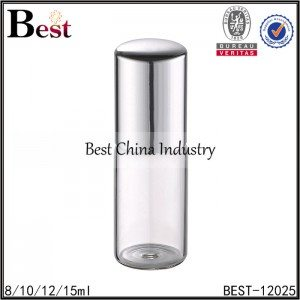 clear tube glass roll on bottle stainless steel roller and shiny silver aluminum cap 8/10/12/15ml