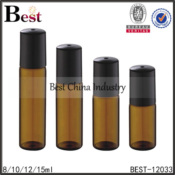 tube glass amber colored roll on bottle glass roller with black cap 8/10/12/15ml