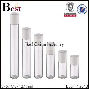 small clear tube glass roller bottle with glass roller and white cap 3/5/7/8/10/12ml
