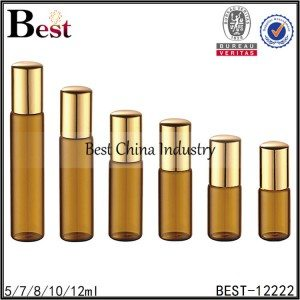 nice glass roller bottle amber tube with metal roller and cap 5/7/8/10/12ml
