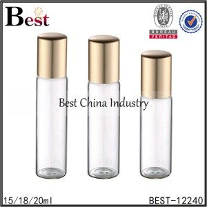 big clear tube glass bottle with metal roller gold aluminum cap 15/18/20ml