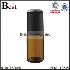 amber tube glass bottle with glass roller and black plastic cap 8/10/12/15ml