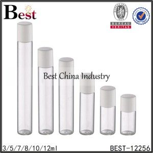 clear tube glass bottle glass roller white plastic cap 3/5/7/8/10/12ml