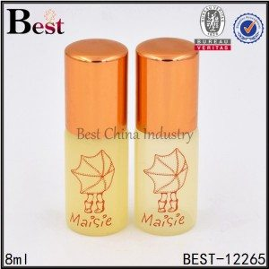yellow painted glass roller bottle 8ml