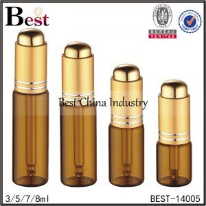 small 13mm neck amber tube glass bottle with matte gold press dropper 3/5/7/8ml