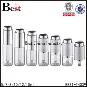 13mm neck clear tube glass bottle silver press dropper 5/7/8/10/12/15ml