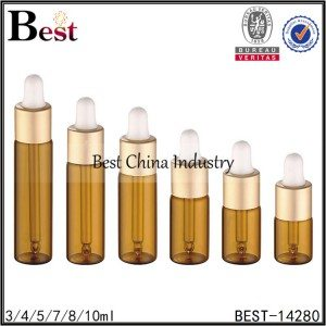 small sample essential oil bottle gold dropper 3/4/5/7/8/10ml
