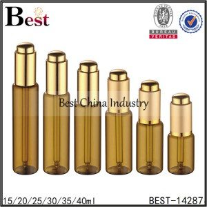 brown tube glass bottle gold press dropper top 15/20/25/30/35/40ml