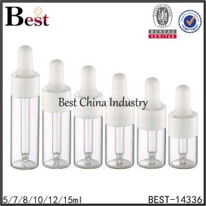 small tube glass essential oil bottle white dropper cap 5/7/8/10/12/15ml