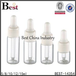 transparent tube bottle white plastic dropper cap 5/8/10/12/15ml