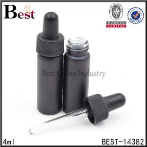 black painted glass tube bottle with black dropper cap 4ml 7ml