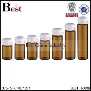 amber glass tube bottle white easy-pulling cap 3/5/6/7/10/12/15ml