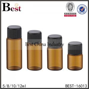 amber round tube bottle with black ribbed plastic cap 5/8/10/12ml