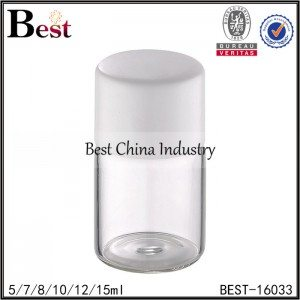 clear round tubular bottle with cap and stopper 5/7/8/10/12/15ml