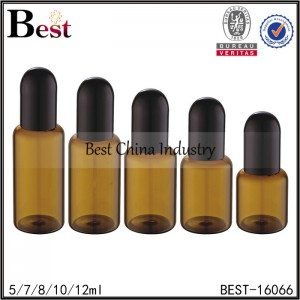 amber glass bottle with round black plastic cap 5ml 7ml 8ml 10ml 12ml