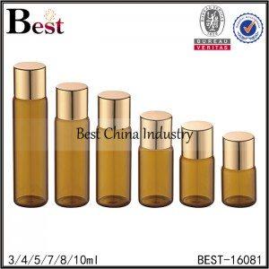 amber glass tubular bottle with shiny gold aluminum cap 3ml 4ml 5ml 7ml 8ml 10ml