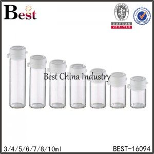 clear sample tubular bottle white cap 3ml 4ml 5ml 6ml 7ml 8ml 10ml