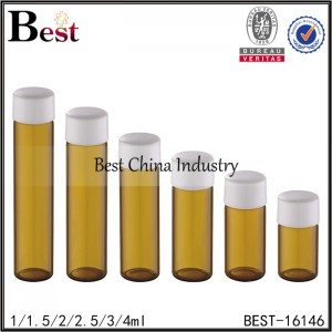 small amber tube with plastic screw cap 1ml 1.5ml 2ml 2.5ml 3ml 4ml