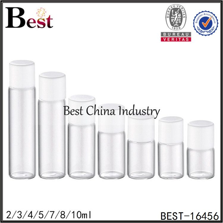 samll sample glass bottle with white plastic cap and stopper 2/3/4/5/7/8/10ml