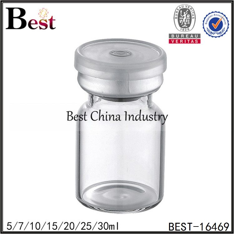 clear glass penicillin bottle with silver cap 5/7/10/15/20/25/30ml