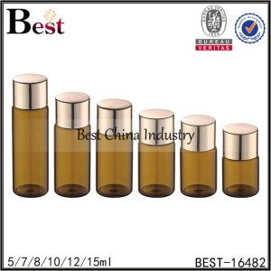 samll amber bottle in glass material with metal cap and stopepr 5/7/8/10/12/15ml