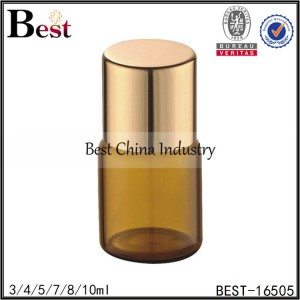 mini amber glass bottle with gold cap and clear insert 3/4/5/7/8/10ml