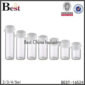 mini clear glass tube bottle with tear off cap 2/3/4/5ml