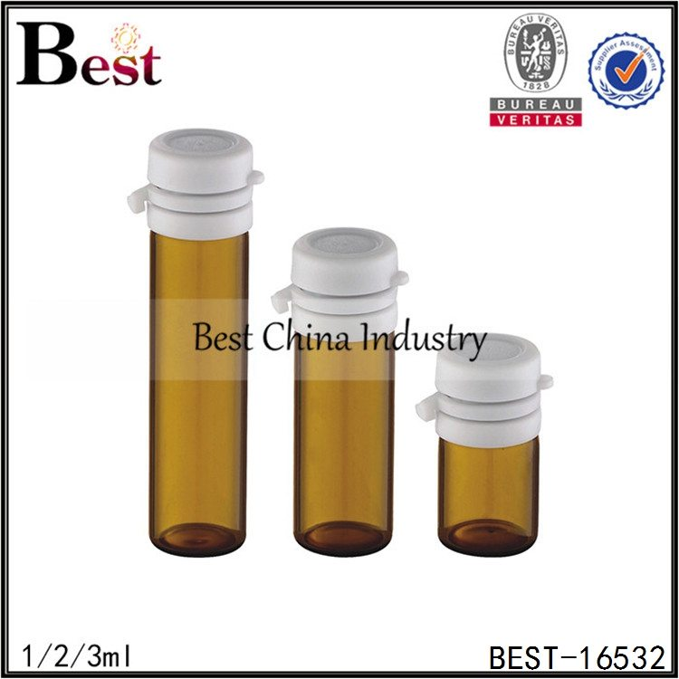 amber glass tube bottle with tear off cap 1/2/3ml