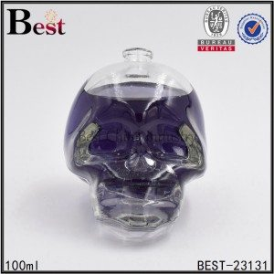 skull head glass perfume bottle with crimp on neck 100ml