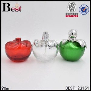 apple shaped colored glass perfume bottle 90ml