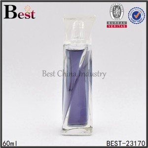 clear glass perfume bottle with square cap 60ml