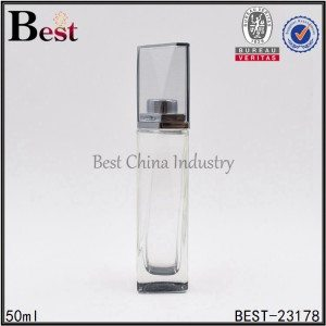 clear square glass perfume bottle with special high cap 50ml