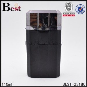 black flat glass perfume bottle with silver aluminum cap 110ml