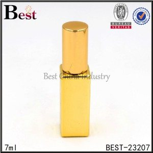gold square glass bottle with sprayer 7ml