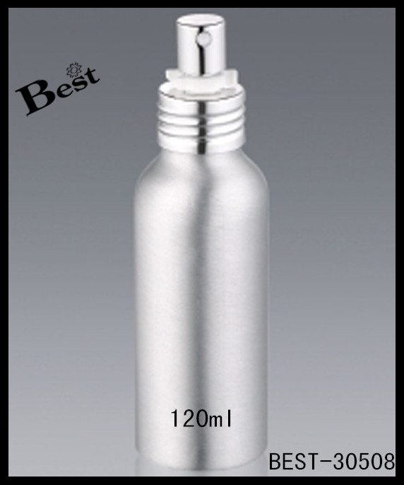 silver essential oil aluminum bottle with sprayer 120ml