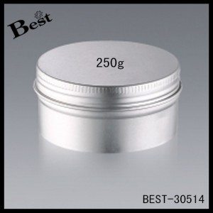 big size silver aluminum face cream jar 250g