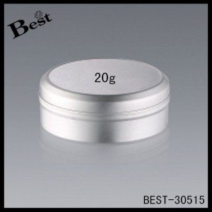 silver round shape aluminum jar with cap for cream 20g