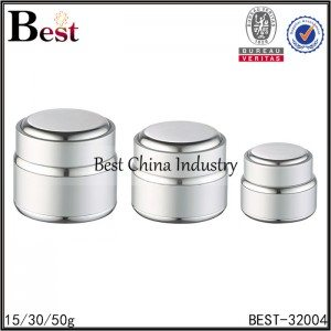 silver aluminum jar with white glass inner jar 15/30/50g