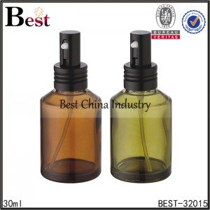 amber glass bottle with aluminum pump 30ml
