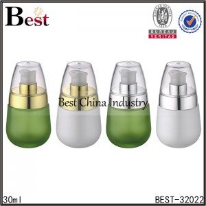 green and white and frosted pump glass bottle 30ml