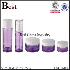 purple color set glass bottle and jar with cap 50/100ml, 20/30/50g